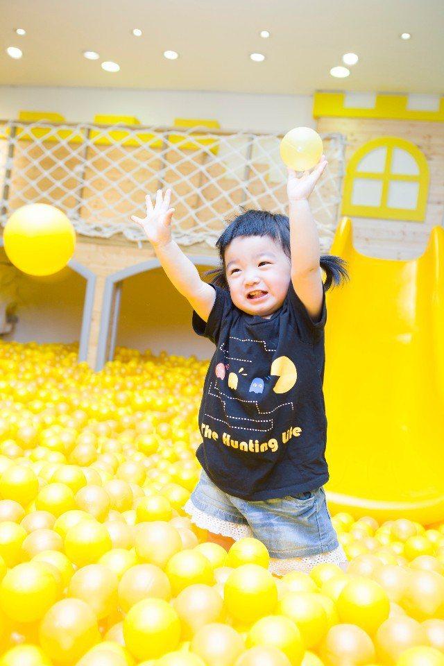 小朋友最愛的大型球池,旁邊還有溜滑梯,寶貝在這裡玩一整天都不會累!(圖片提供/大...