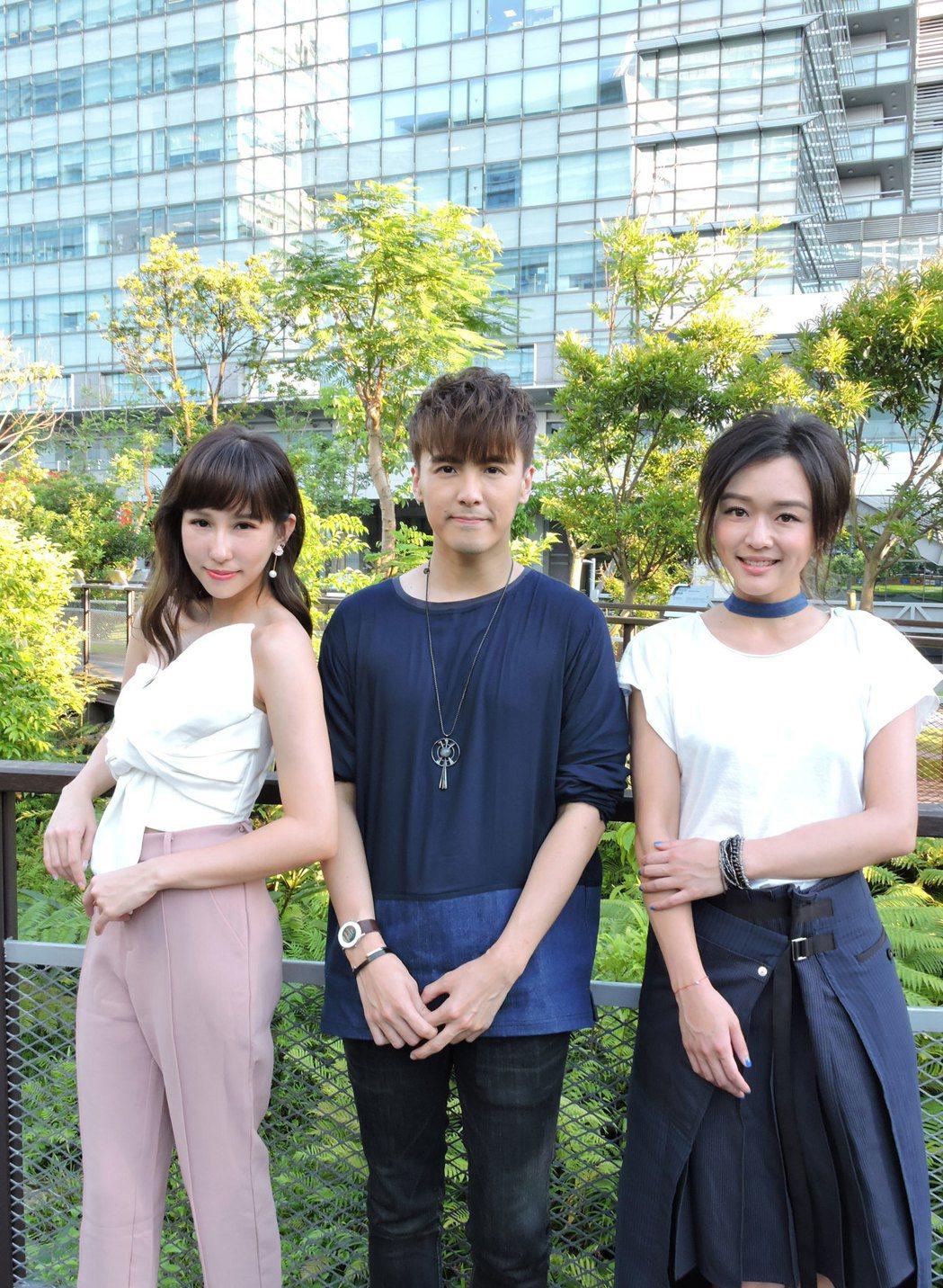 潘嘉麗(左起)、何維健、陳明熹為「鐘樓怪人」唱原聲帶。圖/太陽娛樂提供