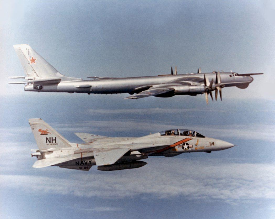Tu-95被戲稱是與最多歐美戰機合照過的蘇聯軍機,本圖前方為美國海軍的F-14戰...