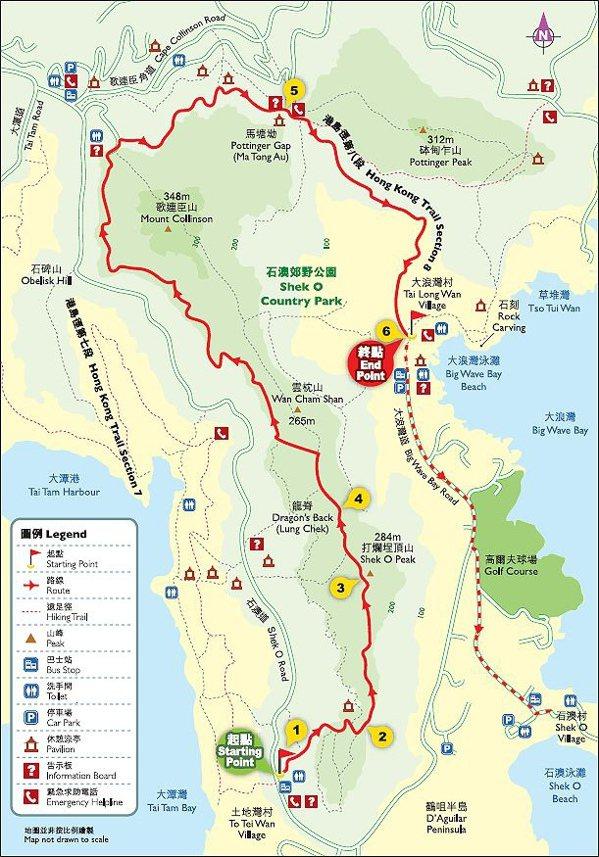 ↑取自 香港旅遊發展局的龍脊步道圖,此地圖也可以在健行筆記網站下載。