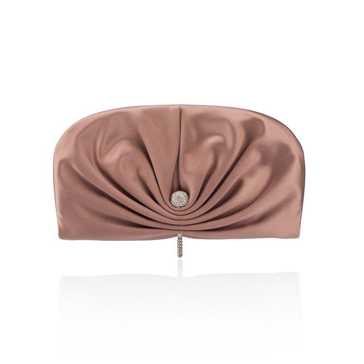 Jimmy Choo Vivienne粉色緞面綴飾水晶手拿包,35,800元。圖...