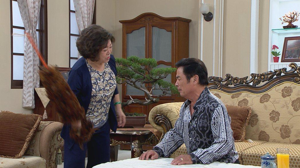 陳淑芳(左)雷洪在「幸福來了」戲中演母子,為兒子外遇火大抄雞毛撢子狠打。圖/民視