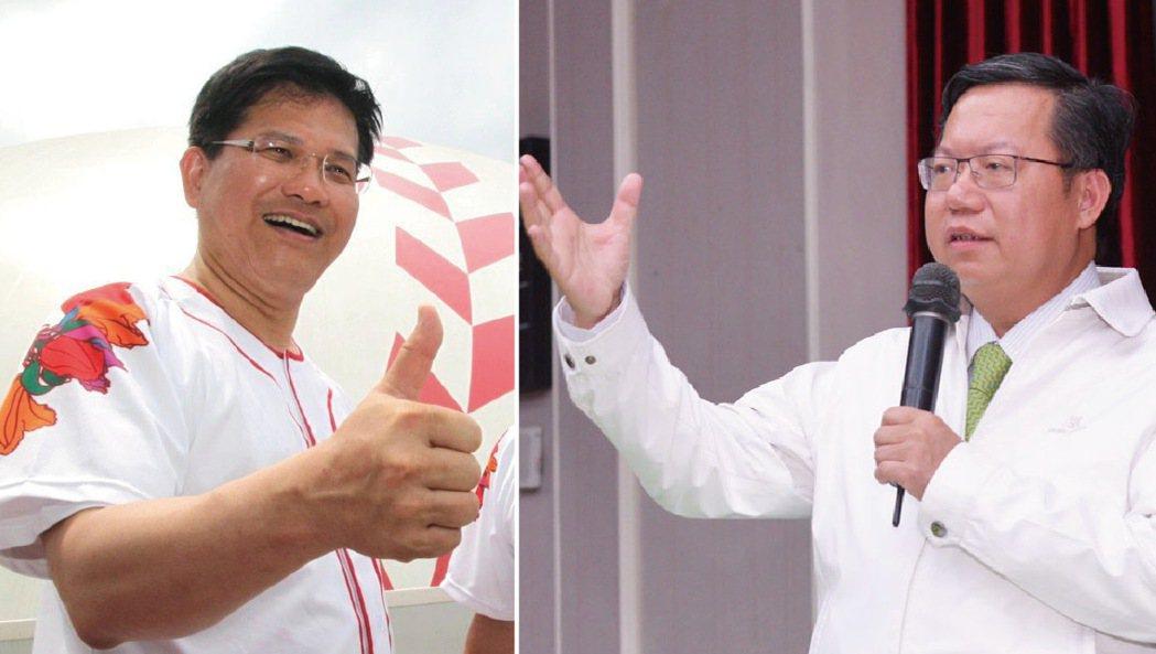 桃園市長鄭文燦(右)與台中市長林佳龍(左),都是賴清德在黨內的強力競爭對手。 報...