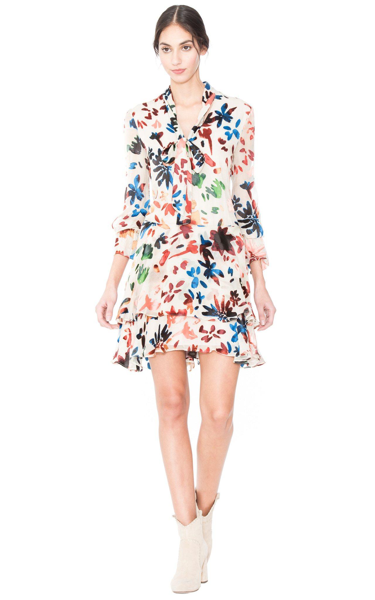 彩色印花洋裝,1萬9900元。