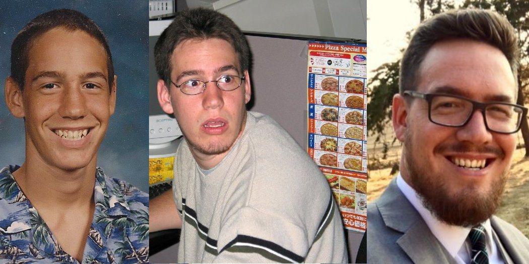 Ben Brode進化史:圖左至右依序為「1996年的BB」、「剛進暴雪的BB(...