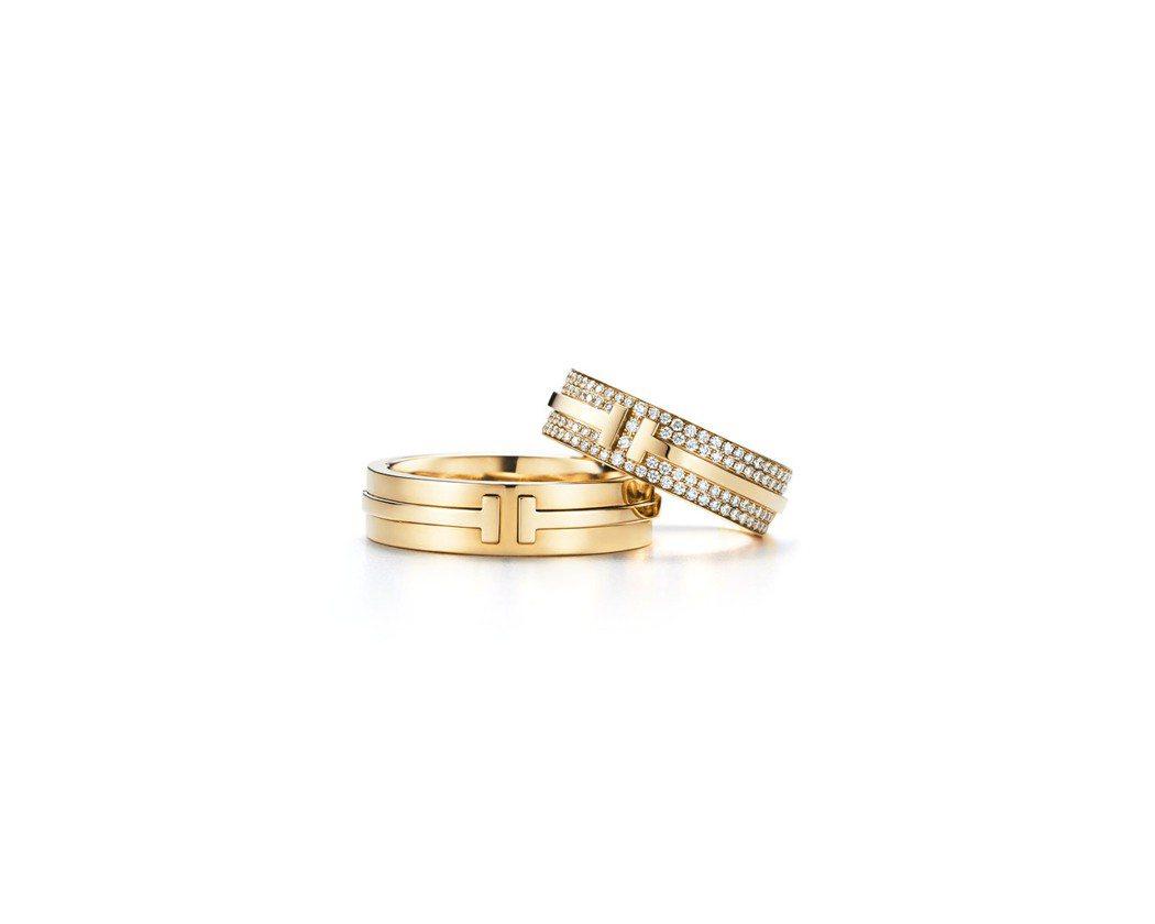 (上至下) Tiffany T Two 戒指18K金鋪鑲鑽石戒指26萬4,000...