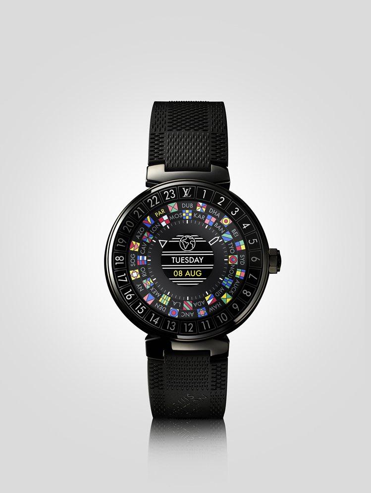 路易威登Tambour Horizon智能錶Black款,約98,500元。(錶...