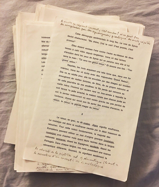小說《無知》(L'Ignorance)的法文打字稿。圖/尉遲秀提供