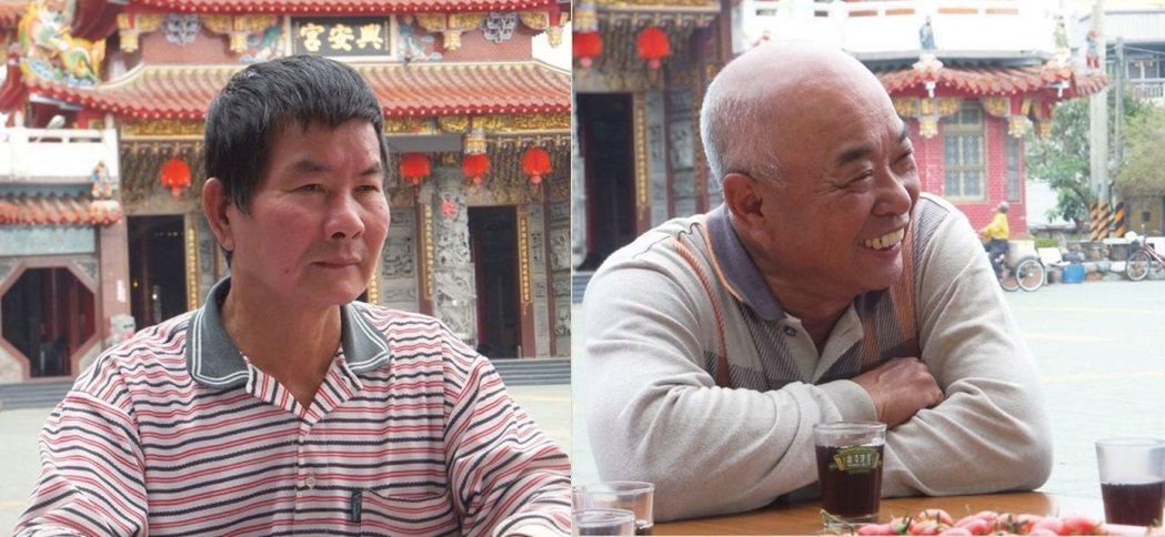圖左:較年輕的黃有志對溪南寮的過往也保有記憶。圖右:溪南寮黃登圍描述早期溪南...