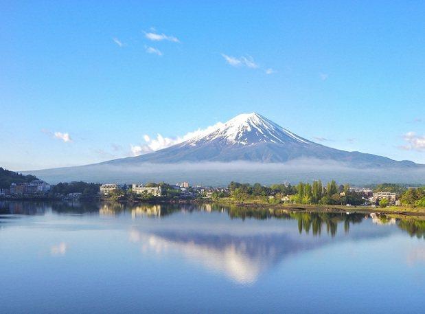 日本秀峰閣湖月,推開窗就盡覽富士山與河口湖美景。圖/KAYAK提供