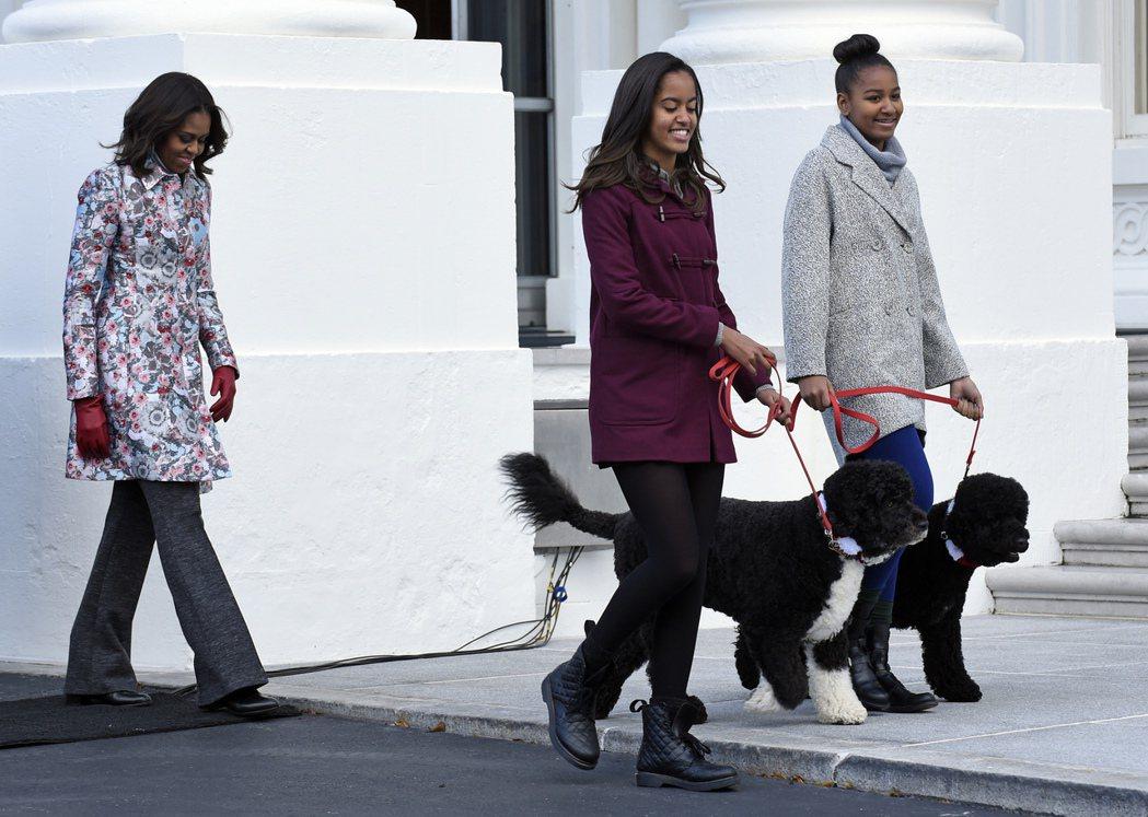 美國前總統歐巴馬夫人蜜雪兒和兩個女兒牽著寵物狗小波和桑尼。 美聯社