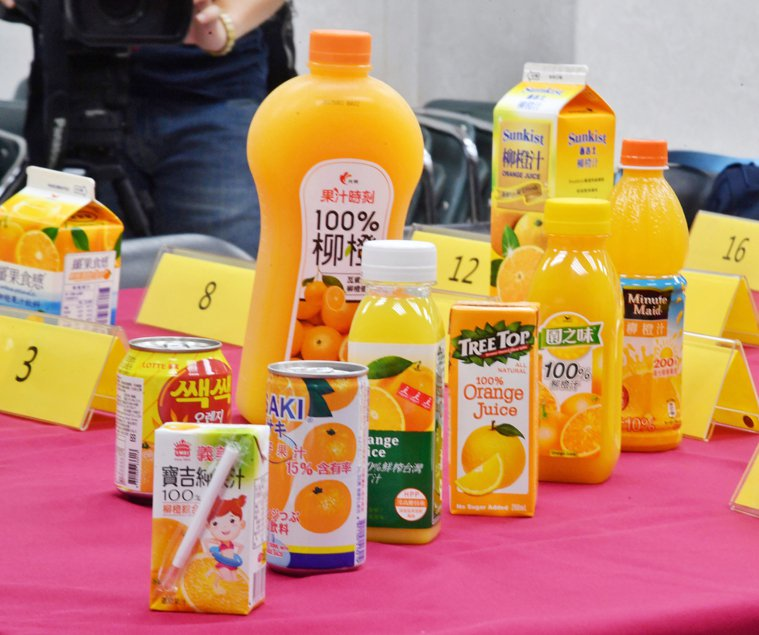 市售柳橙汁。 中央社