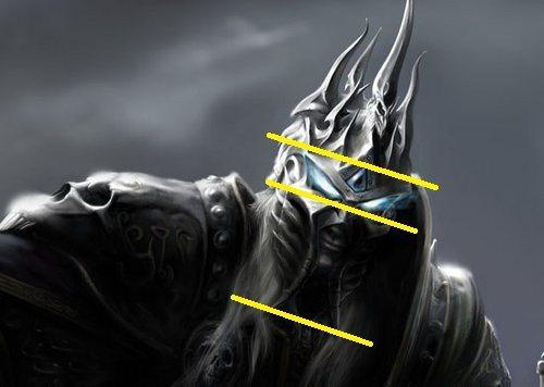 以上圖黃線做為分界下巴會是一個部分、頭部一個部分最後才是上方的尖刺裝飾。