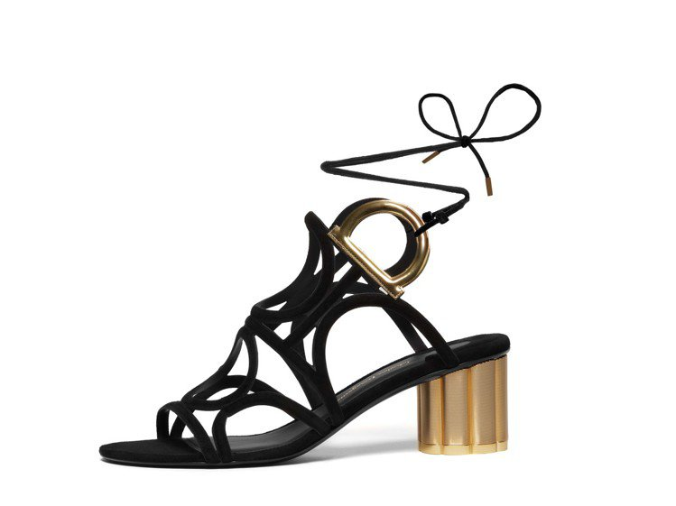 VINCI 黑色羊麂皮涼鞋,33,900元。圖/Ferragamo提供
