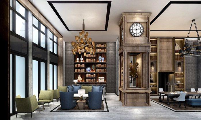 「筑丰陽陽」交誼廳結合聯經圖書,打造英倫風格親子知識殿堂。 圖/筑丰建設提供