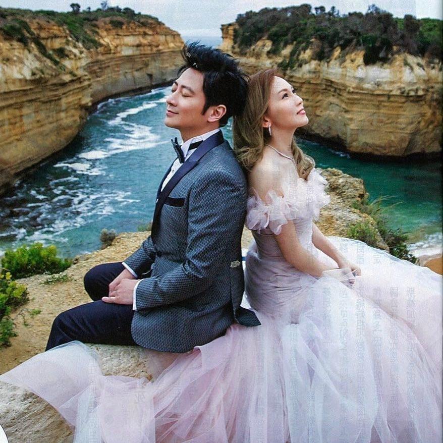孫耀威(左)與陳美詩(右)在香港舉行婚禮。 圖/擷自孫耀威臉書