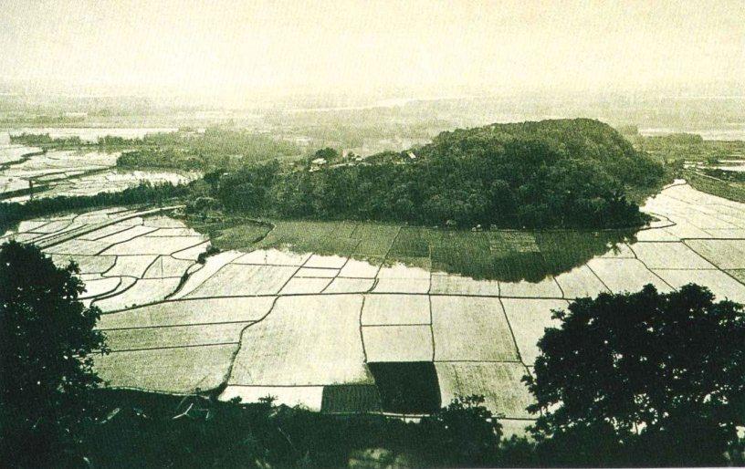 清乾隆年間芝山岩周邊水田景觀。 圖/台北市文化局提供
