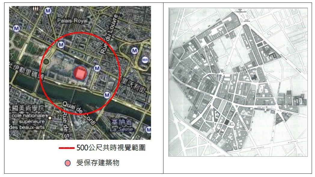 法國針對重要文化景觀訂定500公尺共時視覺範圍示意圖。 圖/台北市文化局提供