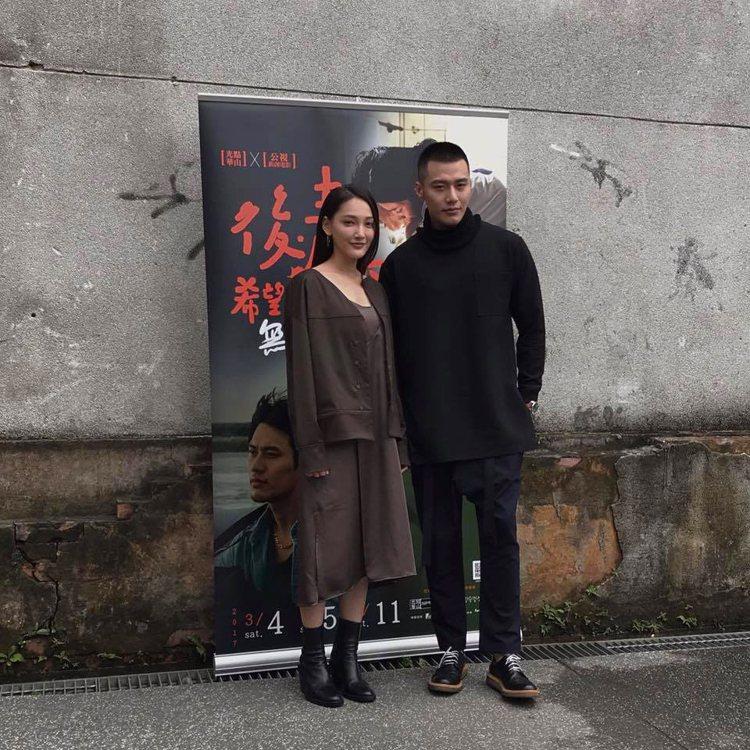 林映唯與張睿家(右一)合演電影「濁流」。圖/擷自林映唯facebook