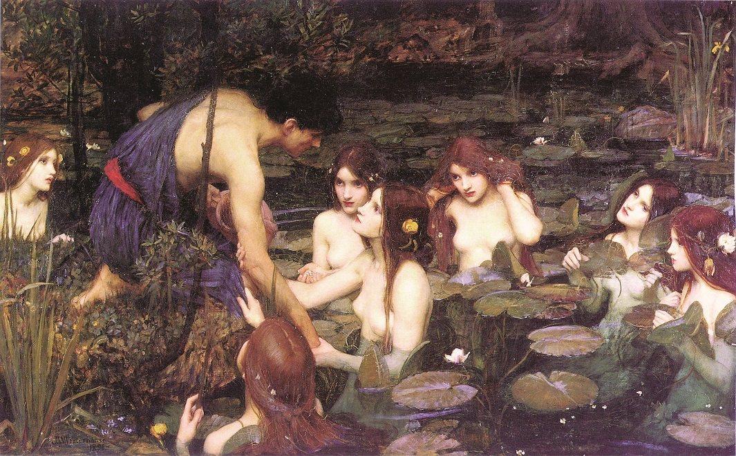 約翰‧ 威廉姆‧ 沃特豪斯,《海拉斯與妖精》(Hylas and the Nym...