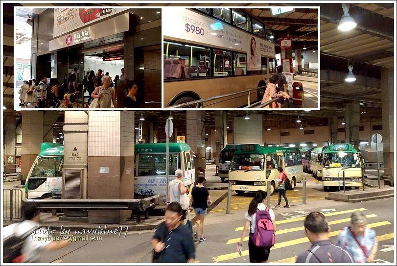 ↑左上圖:港鐵觀塘線的鑽石山站。出站後走到旁邊的荷里活廣場一樓的巴士總站,搭乘右...