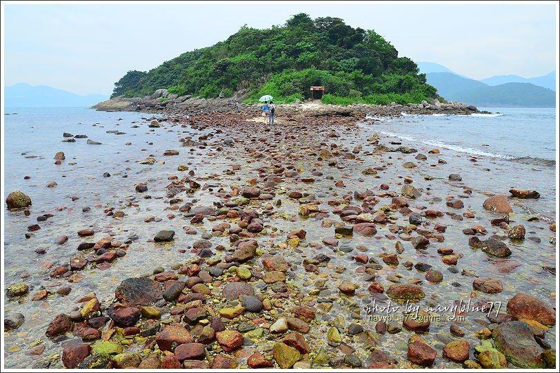 ↑這段海中步道是連島沙洲最低點,因此在退潮未完全前還有積水,布魯通過時剛好來了個...