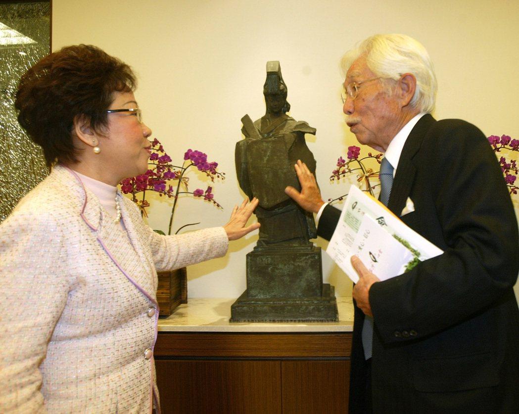 2007年,副總統呂秀蓮(左)拜訪辜寬敏(右),辜寬敏特地介紹朱銘雕像媽祖,呂副...