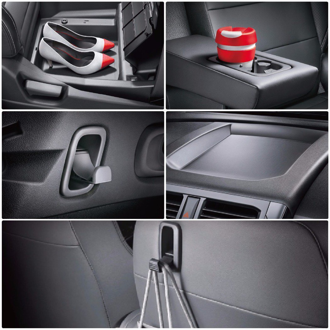 除了後廂大空間與靈活變換,NEW CLOT PLUS也擁有很多聰明的空間可利用,如中控臺上方置物空間、副駕駛座前翻置物盒、前乘客座椅掛鉤、行李廂掛鉤、後座中央扶手置杯架等。 MITSUBISHI 提供