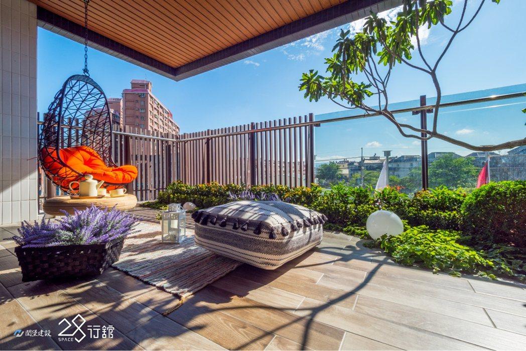 高雄厝景觀大陽台,獨享私人空中花園,在家就像放鬆度假。 圖片提供/閎堡建設