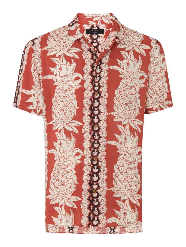 AllSanits Annas橘紅色印花襯衫,約4,800元。圖/AllSani...