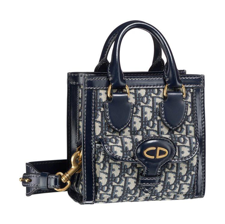 Dior Oblique丹寧色復古logo花紋帆布與小牛皮滾邊托特包,價格店洽。...