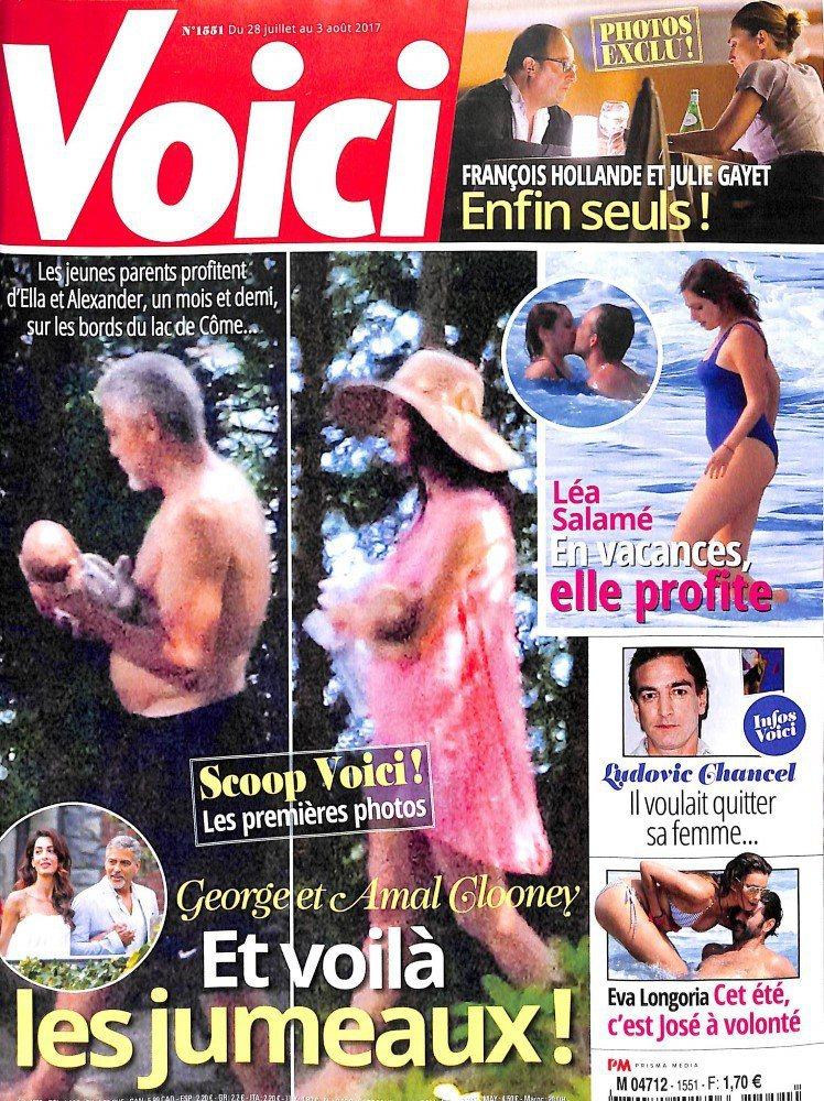 喬治柯隆尼揚言對刊登雙胞胎偷拍照的法國雜誌提告。圖/摘自news-people