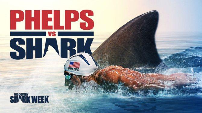 「菲爾普斯與鯊魚」引爆全美爭議,收視卻也開出超級大紅盤。圖/摘自Discover