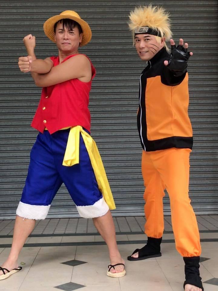 馬幼興(右)扮火影忍者、陳霆扮「海賊王」,笑翻一堆網友。圖/摘自馬幼興臉書