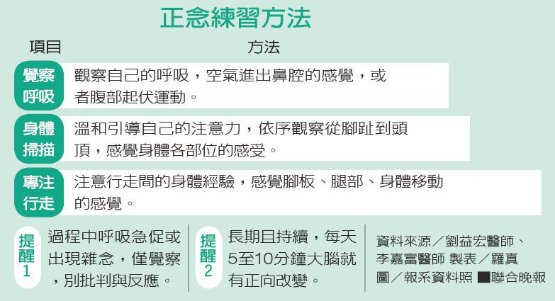 正念練習方法資料來源/劉益宏醫師、李嘉富醫師 製表/羅真