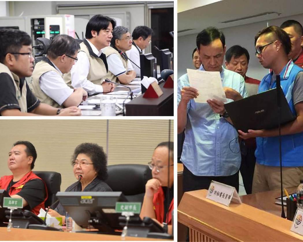面對尼莎颱風侵台,賴清德(左上圖)、陳菊(左下圖)、朱立倫(右圖),臉書PO出坐...