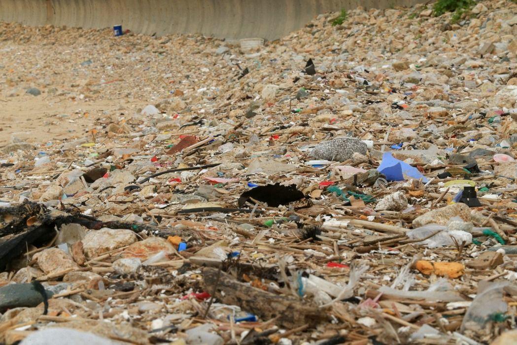 遍地海漂垃圾,可能會害海龜誤食。圖為馬祖珠螺村沙灘。 圖/報系資料照片