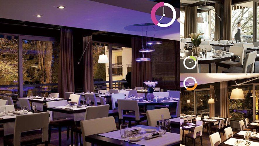 (圖)餐廳案例,歐加團隊以自動化的燈光控制,可針對不同的時間和情況,做情境調整