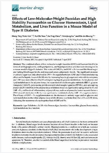 高穩定藻褐素及台灣小分子褐藻醣膠改善糖尿病研究登上國際知名期刊《Marine D...
