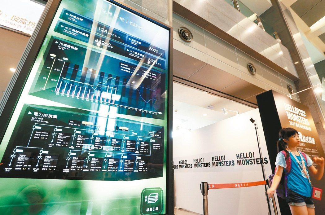見賢思齊,新北市政府在一樓大廳設置智慧節能的數位電表,用電數據一目了然。 記者侯...