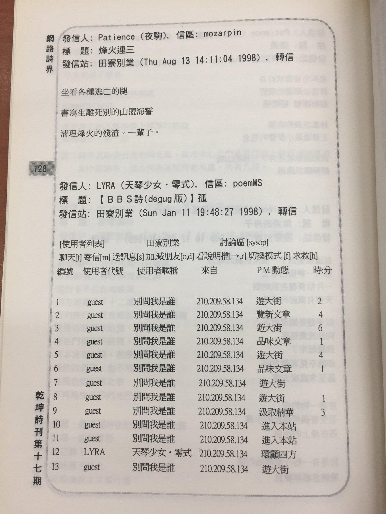 2001年的《乾坤詩刊》保留了1998年田寮別業的BBS詩版畫面。 圖/國立臺灣...