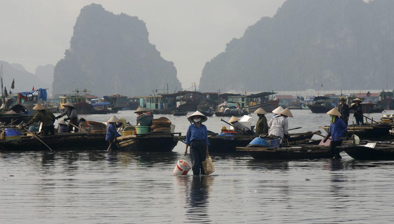 不良企业不顾生态私自抽砂导致水质恶化,许多越南渔民因而面临捕不到龙虾的困境。图...