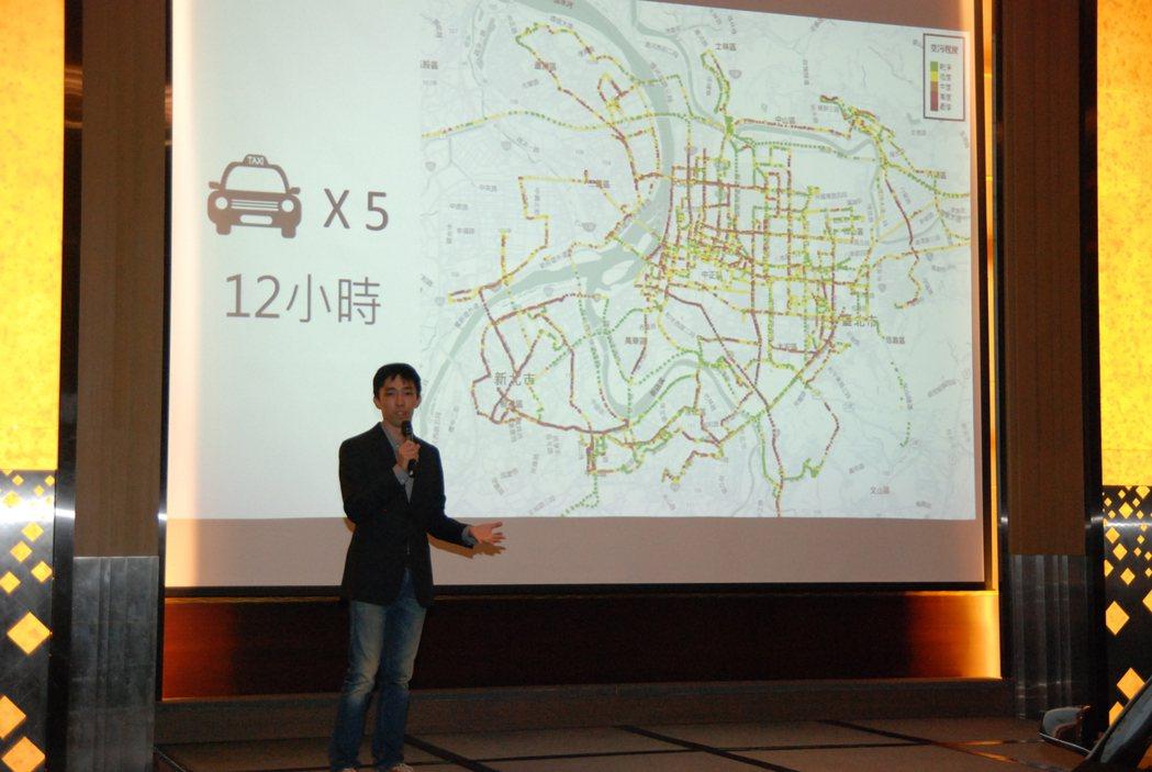 0Taxi 電動車隊希望透過計程車在路上營運的方式,進行空氣品質的資料收集。 記者林鼎智/攝影