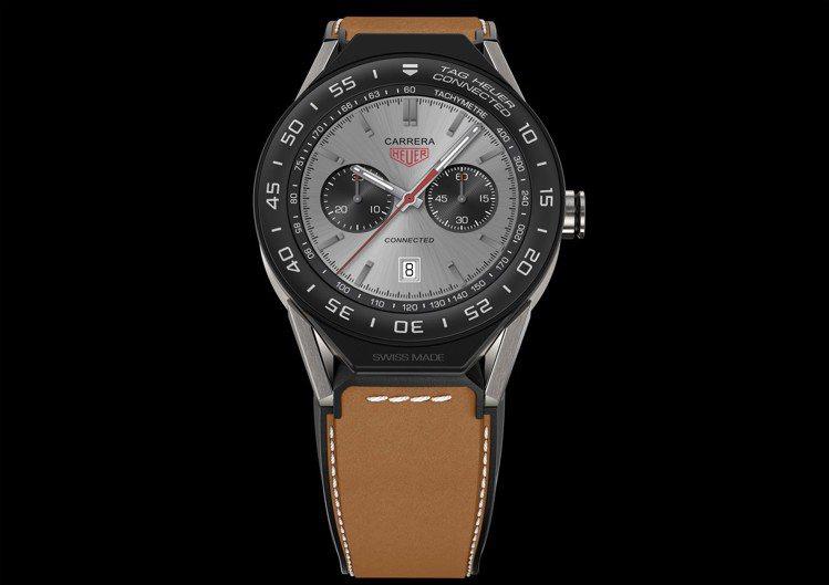 泰格豪雅Connected Watch Modular 45智能腕表小牛皮革表帶...