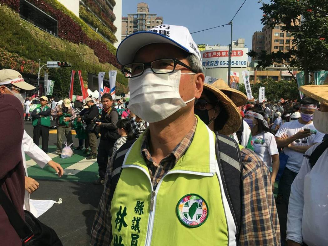 去年6月6日林世賢發起反台化空汙大遊行活動。 圖/林世賢提供