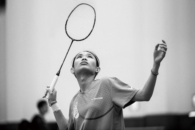 世界排名第一的台灣羽球小天后戴資穎,專注地望著來球。