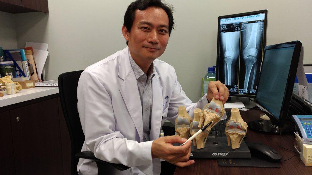 台中市長安醫院骨科醫師黃梓榕說,蹲下去再站起來膝關節發出聲響,有好幾種原因。記者...