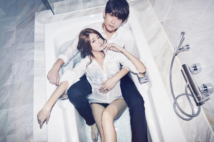 賴琳恩、陳乃榮躺浴缸,婚紗寫真甜蜜閃瞎。圖/伊林提供