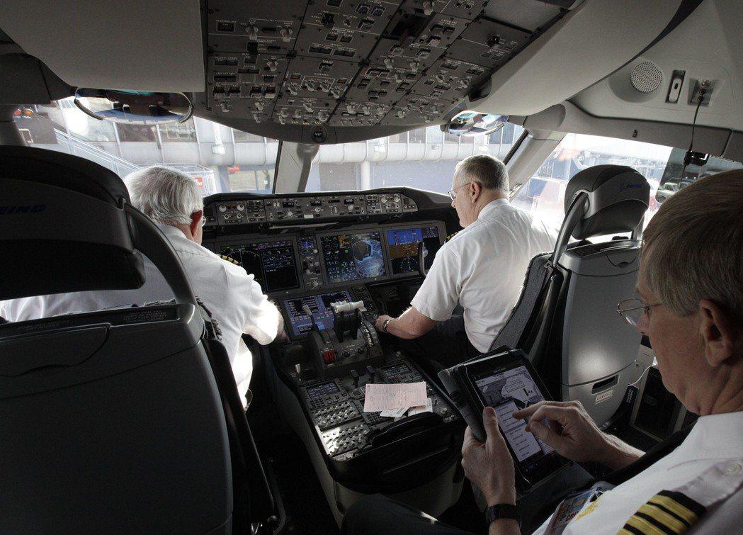 聯邦航空管理局規定,駕駛艙隨時維持有正副機長在場,以因應緊急狀況。圖為聯航波音7...
