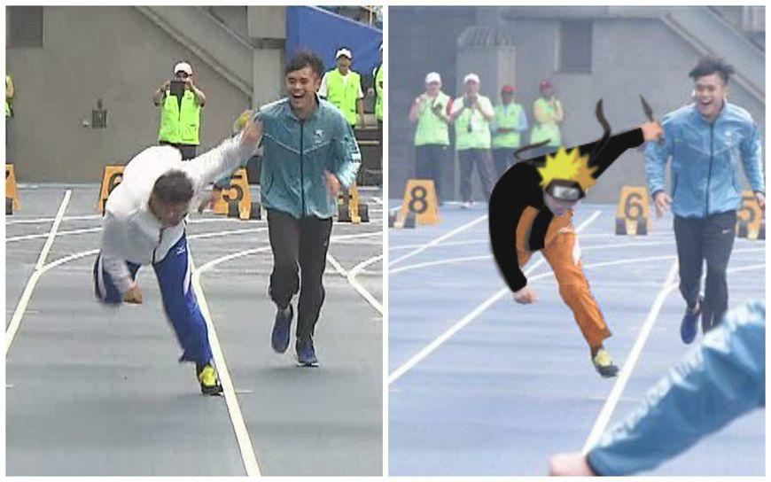 柯文哲試跑世大運跑道,卻在一開跑不慎摔倒,引發網友惡搞P圖成火影忍者主角「漩渦鳴...